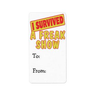 I SURVIVED A FREAK SHOW LABEL