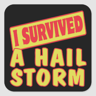 I SURVIVED A HAIL STORM SQUARE STICKER