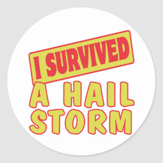I SURVIVED A HAIL STORM ROUND STICKERS