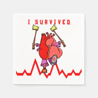 I survived a heart attack paper napkin