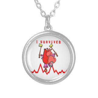 I survived a heart attack silver plated necklace