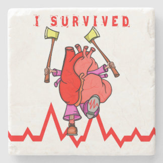 I survived a heart attack stone coaster