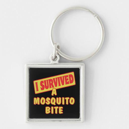 I SURVIVED A MOSQUITO BITE Silver-Colored SQUARE KEYCHAIN
