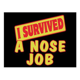 I SURVIVED A NOSE JOB POST CARD
