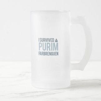 I survived a purim farbrengen frosted glass beer mug