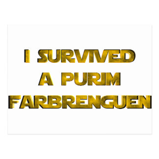 I survived a Purim Farbrenguen Postcard