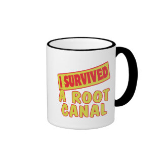 I SURVIVED A ROOT CANAL RINGER COFFEE MUG