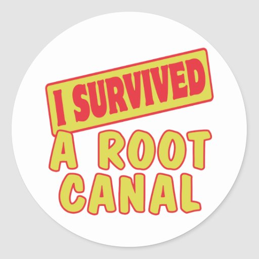 I SURVIVED A ROOT CANAL ROUND STICKERS