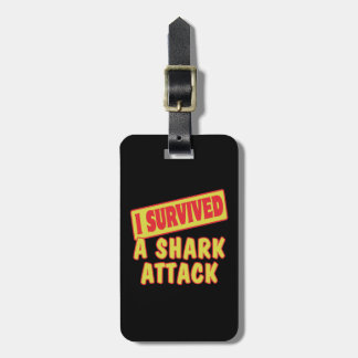 I SURVIVED A SHARK ATTACK LUGGAGE TAG