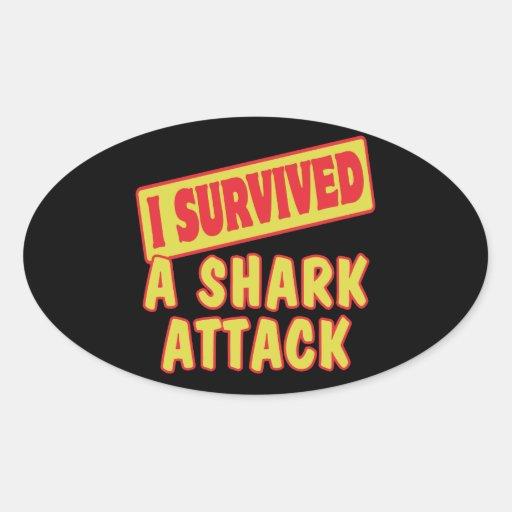 I SURVIVED A SHARK ATTACK OVAL STICKER
