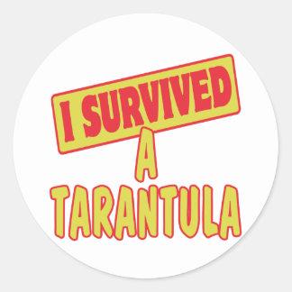 I SURVIVED A TARANTULA ROUND STICKER