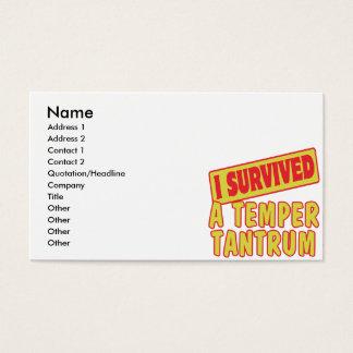 I SURVIVED A TEMPER TANTRUM BUSINESS CARD