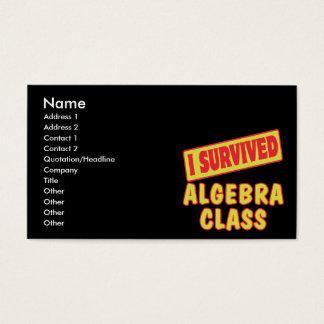 I SURVIVED ALGEBRA CLASS BUSINESS CARD
