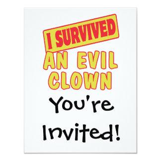 I SURVIVED AN EVIL CLOWN 4.25X5.5 PAPER INVITATION CARD