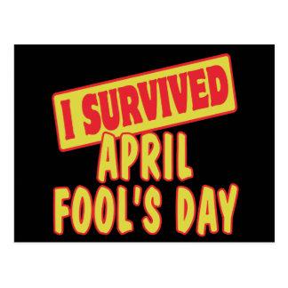 I SURVIVED APRIL FOOLS DAY POSTCARD