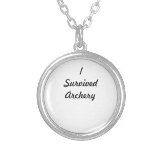 I survived archery! round pendant necklace