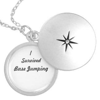 I survived base jumping! round locket necklace