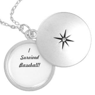 I survived baseball! round locket necklace