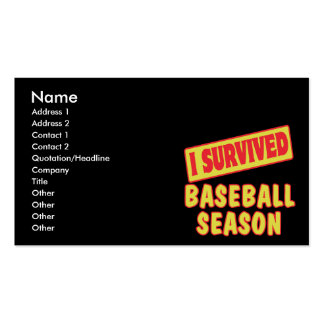 I SURVIVED BASEBALL SEASON Double-Sided STANDARD BUSINESS CARDS (Pack OF 100)