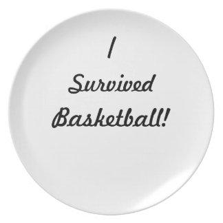 I survived basketball! dinner plate