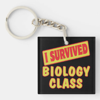 I SURVIVED BIOLOGY CLASS SQUARE ACRYLIC KEYCHAINS