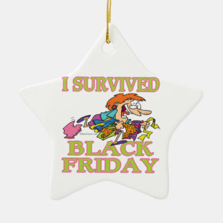 I SURVIVED BLACK FRIDAY FUNNY CARTOON CERAMIC ORNAMENT