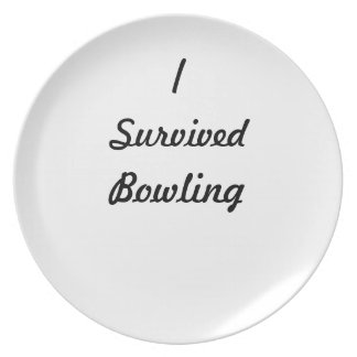 I survived bowling! party plate