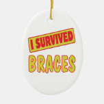 I SURVIVED BRACES Double-Sided OVAL CERAMIC CHRISTMAS ORNAMENT