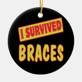 I SURVIVED BRACES Double-Sided CERAMIC ROUND CHRISTMAS ORNAMENT