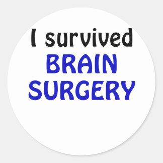 I Survived Brain Surgery Classic Round Sticker
