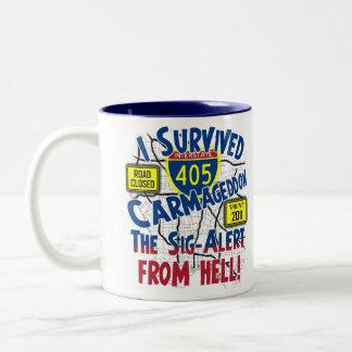 I Survived Carmageddon - Interstate 405 Two-Tone Coffee Mug