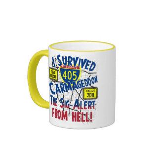 I Survived Carmageddon - Interstate 405 Ringer Coffee Mug