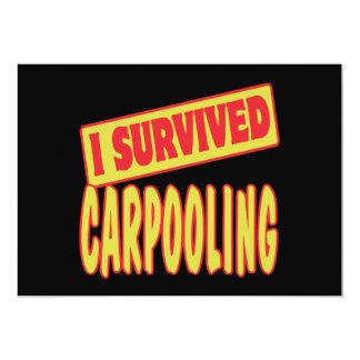 I SURVIVED CARPOOLING 5X7 PAPER INVITATION CARD
