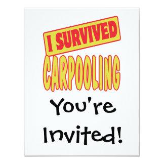I SURVIVED CARPOOLING 4.25X5.5 PAPER INVITATION CARD