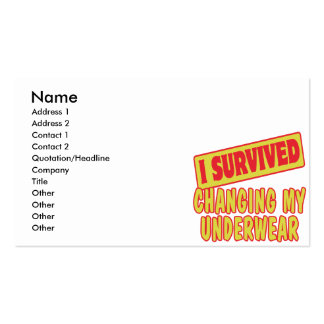 I SURVIVED CHANGING MY UNDERWEAR BUSINESS CARD TEMPLATE