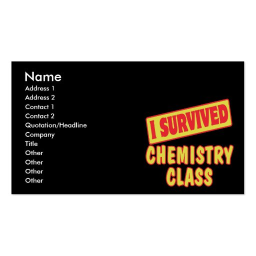 I SURVIVED CHEMISTRY CLASS Double-Sided STANDARD BUSINESS CARDS (Pack OF 100)