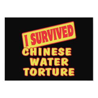 I SURVIVED CHINESE WATER TORTURE 5X7 PAPER INVITATION CARD