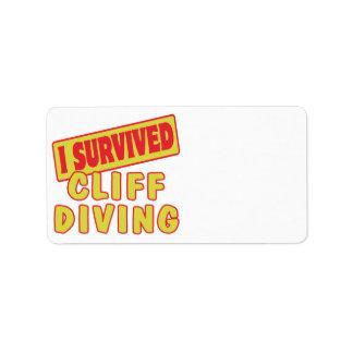 I SURVIVED CLIFF DIVING ADDRESS LABEL