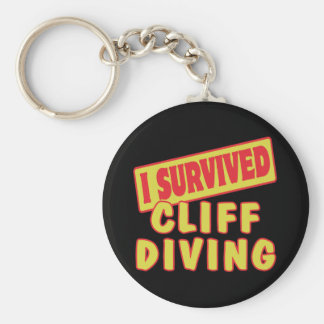 I SURVIVED CLIFF DIVING BASIC ROUND BUTTON KEYCHAIN