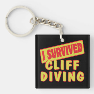I SURVIVED CLIFF DIVING Double-Sided SQUARE ACRYLIC KEYCHAIN