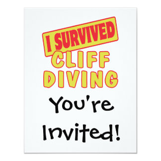 I SURVIVED CLIFF DIVING 4.25X5.5 PAPER INVITATION CARD