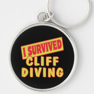 I SURVIVED CLIFF DIVING Silver-Colored ROUND KEYCHAIN
