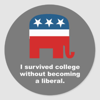 I survived college without becoming a liberal sticker