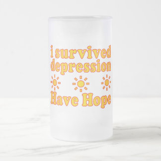 I Survived Depression - Have Hope - Inspire Faith Frosted Glass Beer Mug