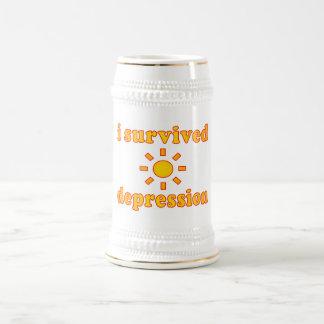 I Survived Depression Mental Health Happiness Beer Stein