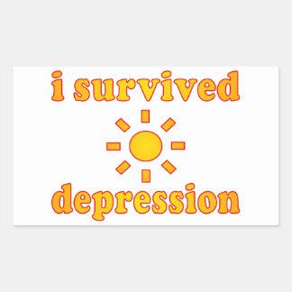 I Survived Depression Mental Health Happiness Rectangular Sticker