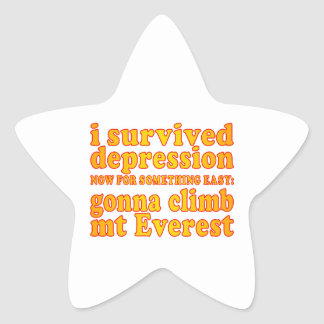 I Survived Depression - Now Gonna Climb Mt Everest Star Stickers
