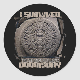 I SURVIVED DOOMSDAY 2012 ROUND STICKERS