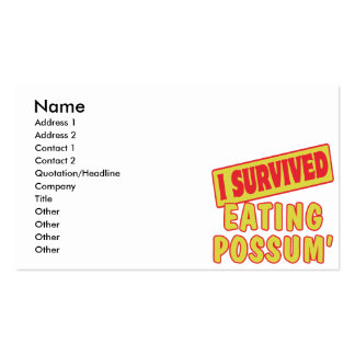 I SURVIVED EATING POSSUM BUSINESS CARD TEMPLATES
