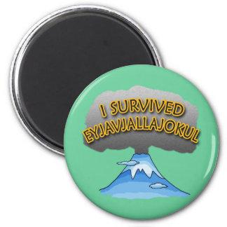 I Survived Eyjafjallajokull Volcano Tshirt 2 Inch Round Magnet